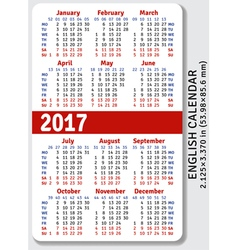 English pocket calendar for 2017 vector