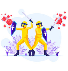 Fight virus concept disinfectant workers vector