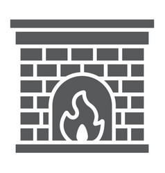 fireplace glyph icon fire and home christmas vector image
