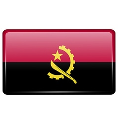 Flags Angola in the form of a magnet on vector
