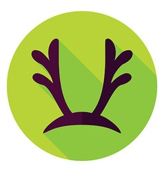 Flat Design Reindeer Antlers Circle Icon vector image