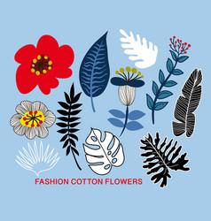 floral elements for textile design vector image