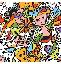 Floral seamless pattern with girl face vector image