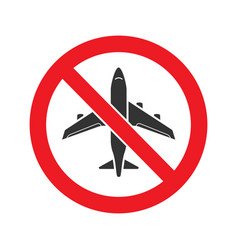 Forbidden sign with airplane glyph icon vector