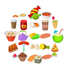 Fried food icons set cartoon style vector