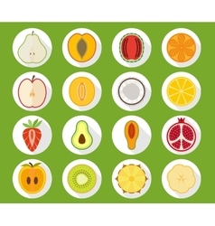 Fruit icon set with long shadow vector