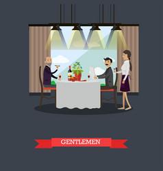 Gentlemen in restaurant concept vector