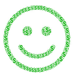 Glad smiley composition of dollar vector