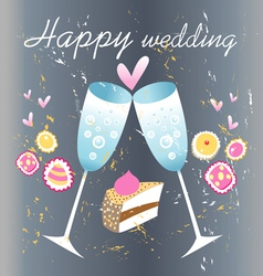 Glasses of champagne wedding card vector