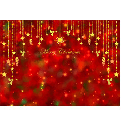 glowing golden ornaments christmas on red green bo vector image