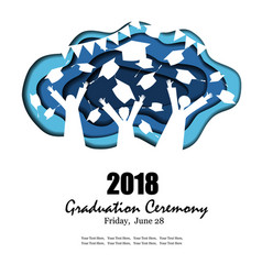 graduation party background in paper art style vector image