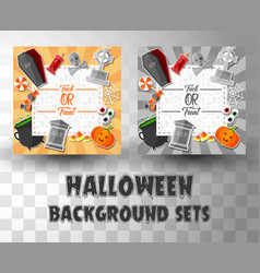 halloween flat banner template background sets vector image