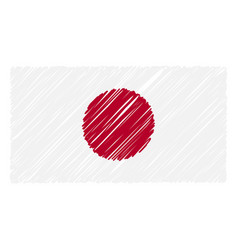 hand drawn national flag of japan isolated on a vector image