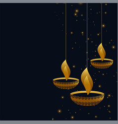 Hanging diwali diya on dark background vector