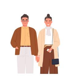 Happy elderly couple holding hands flat vector