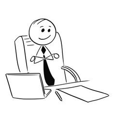 Happy satisfied businessman boss sitting vector