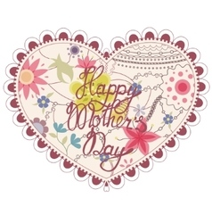 Heart vintage with Happy Mothers Day vector image