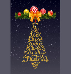 Holiday gift card with hand lettering we wish you vector