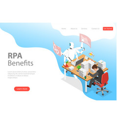 isometric flat landing page template of rpa vector image