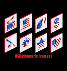Isometric set of usa icons the color of the flag vector