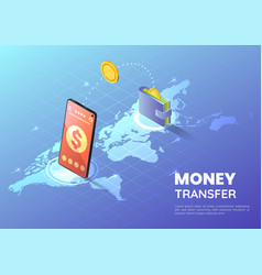 isometric web banner smartphone transferring vector image