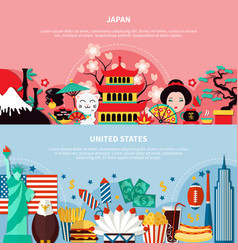 Japan and united states horizontal banners vector