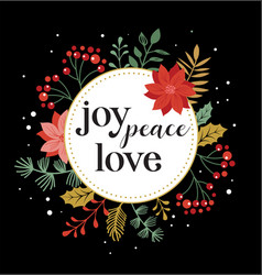 Joy peace love merry christmas card vector