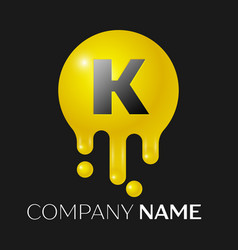 k letter splash logo yellow dots and bubbles vector image
