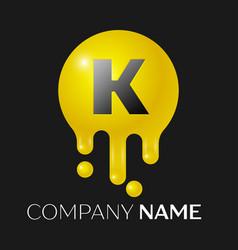 k letter splash logo yellow dots and bubbles vector image