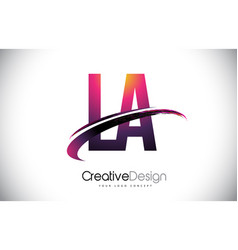 La l a purple letter logo with swoosh design vector