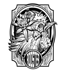 lotus on rooster drawing vintage black chicken vector image