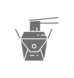 noodle takeaway box japanese cuisine gray icon vector image