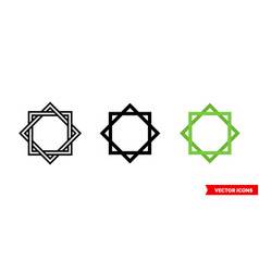 Octagram icon 3 types isolated sign vector