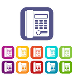 office business keypad phone icons set vector image