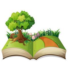 Open book nature landscape vector