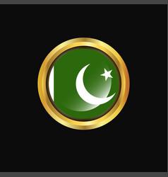 Pakistan flag golden button vector