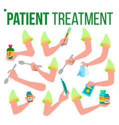 patient treatment hand set holding pills spoon vector image