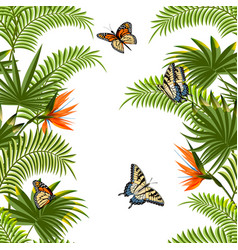 Pattern with flowers butterflies and leaves vector