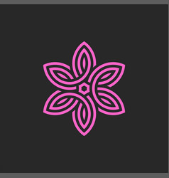 Pink flower logo linear monogram feminine emblem vector