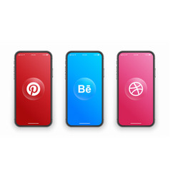 Pinterest behance dribbble logo on iphone screen vector