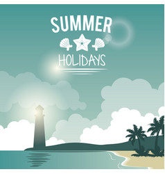 Poster seaside with lighthouse and logo summer vector