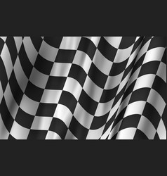 realistic detailed 3d wavy race flag card vector image