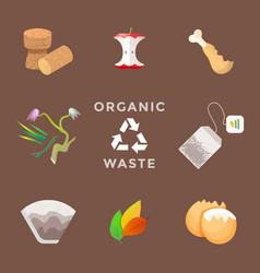 Recycle organic waste management set vector