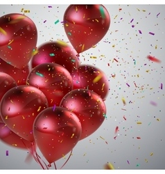 Red Balloons And Holiday Confetti vector image