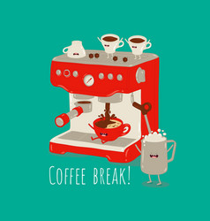 red coffee machine making coffee with milk in the vector image