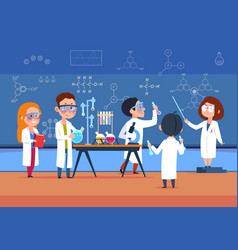 School kids in chemistry lab children in science vector