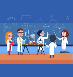 School kids in chemistry lab children in science vector