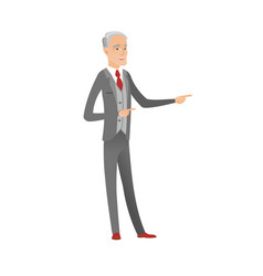Senior caucasian businessman pointing to the side vector