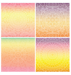 set of cards with indian mandala on tender vector image