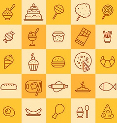 set of icons of different kinds of food vector image